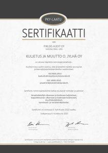 ISO9001-laatusertifikaatti ja ISO14001-ympäristösertifikaatti